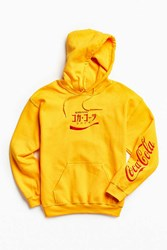 Urban Outfitters Coca Cola Embroidered Hoodie Sweatshirt Gold
