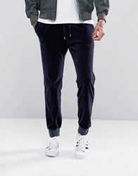 Asos Skinny Joggers In Velour Navy