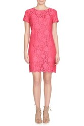 Cynthia Steffe Kayte Short Sleeve Palm Lace Shift Dress Red