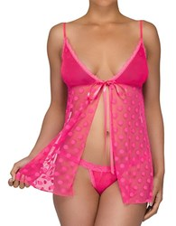 Hanky Panky After Midnight Hot Dot Babydoll And G String Set Tickled Pink