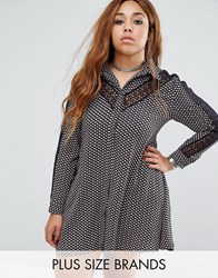 Alice And You Printed Shirt Dress With Lace Insert Navy