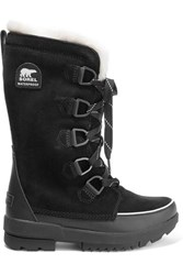 Sorel Torino Ii Faux Fur Trimmed Waterproof Suede And Rubber Boots Black