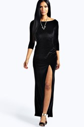 Boohoo Velvet Long Sleeve Maxi Dress Black