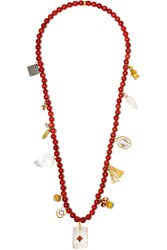 Carolina Bucci Recharmed Favola 18 Karat Gold Multi Stone Necklace Coral