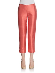 Lafayette 148 New York Stanton Cotton And Silk Cropped Pants Dragonfruit