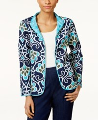Alfred Dunner Petite Open Front Quilted Jacket Navy Multi