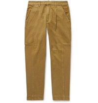 Folk Fraction Pleated Panelled Cotton Twill And Faille Trousers Neutrals