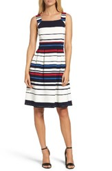 Adrianna Papell Women's Stripe Ottoman Fit And Flare Dress Blue Multi