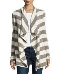 Three Dots Kiara Striped Open Cardigan Multi Pattern