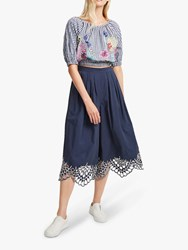 French Connection Lavande Gingham Top Indigo Multi