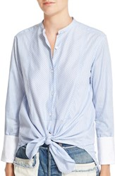 Helmut Lang Women's Stripe Cotton Collarless Oxford