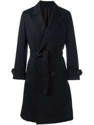 Ami Alexandre Mattiussi Double Breasted Belted Coat Blue