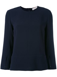 Alberto Biani Round Neck Blouse Women Polyester Triacetate 44 Blue