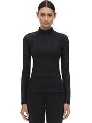 Thierry Mugler Embossed Lycra Sports Top Black