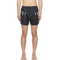 Neil Barrett Navy Lightening Bolt Wings Swim Shorts