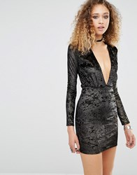 Motel Lynette Dress With Plunge Neck In Shimmer Black Gold Shimmer