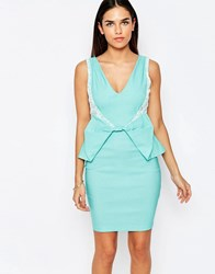 Vesper Rayna Bow Detail Pencil Dress Mint Green