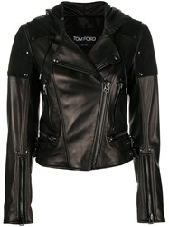 Tom Ford Zipped Biker Jacket Black
