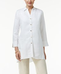 Jm Collection Collared Three Quarter Sleeve Shirt Only At Macy's Bright White