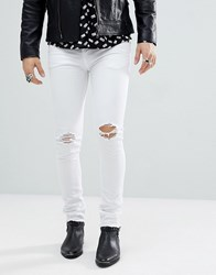 Noose And Monkey Super Skinny Distressed Jeans In White With Raw Hem White