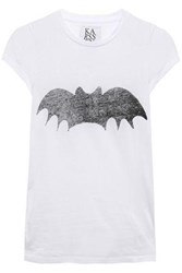 Zoe Karssen Woman Bat Printed Cotton Jersey T Shirt White