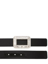 Roger Vivier 25Mm Swarovski Buckle Silk Satin Belt