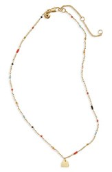 Madewell Women's Delicate Bead Charm Necklace Bright Red Multi