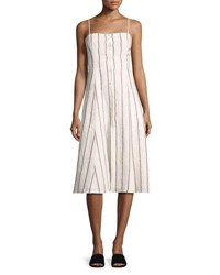 Theory Kayleigh Wide Stripe Linen Sundress White