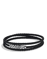 David Yurman Chevron Triple Wrap Bracelet In Black Silver Black