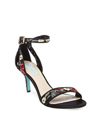 Betsey Johnson Madox Embroidered Stiletto Sandals Black