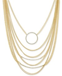 Thalia Sodi Gold Tone Multi Chain And Crystal Circle Statement Necklace Only At Macy's