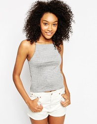 Asos Cami Top With Square Neck In Slinky Rib Grey