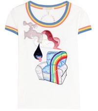 Marc Jacobs Cotton T Shirt With Embroidered Applique White