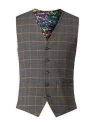 Gibson Charcoal Waistcoat With Apricot Check Blue