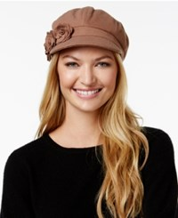 August Hats Artisanal Trims Flower Newsboy Cap Taupe