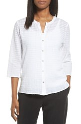 Eileen Fisher Women's Check Textured Blouse White