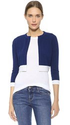 Lisa Perry Cropped Cashmere Cardigan Navy Powder Blue