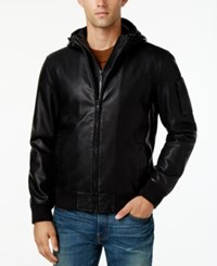Tommy Hilfiger Men's Hooded Faux Leather Bomber Jacket Black