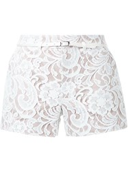 Loveless Lace Belted Shorts White