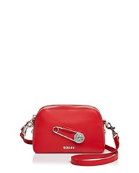 Versus By Versace Safety Pin Leather Crossbody Red