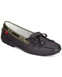 Marc Joseph New York Cypress Hill Stingray Tie Bow Loafer Flats Women's Shoes Grey Black