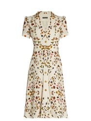 Alexander Mcqueen Obsession Print Button Down Crepe Dress Cream Multi