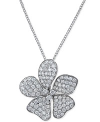 Effy Collection Effy Diamond Flower Pendant Necklace In 14K White Gold 1 1 10 Ct. T.W.