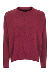 Topshop Petite Zip Side Crew Neck Knitted Jumper Raspberry