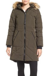 Guess Women's Quilted Anorak With Faux Fur Trim True Olive