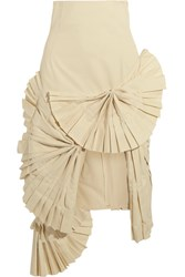 Jacquemus Pleated Canvas Skirt Cream