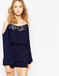 Influence Cheese Cloth Off Shoulder Playsuit Navy