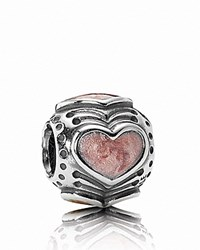 Pandora Design Pandora Charm Sterling Silver And Rose Enamel Hearts Moments Collection Silver Rose