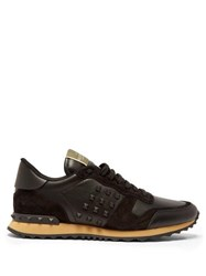 Valentino Rockrunner Suede And Leather Trainers Black Multi