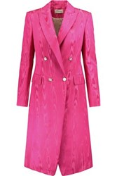 Temperley London Irie Cotton Blend Jacquard Coat Fuchsia